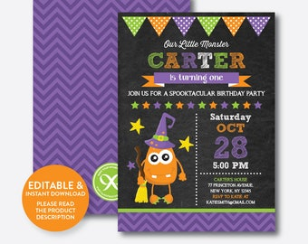 Instant Download, Editable Monster Halloween Birthday Invitation, Monster Invitation, Halloween Party Invitation, Chalkboard (CKB.320)