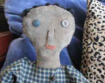 Primitive Folk Art Doll Ned, OOAK, FAAP