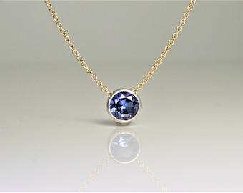 Tanzanite Floating Necklace, Tanzanite Jewelry, Minimalist Jewelry, Minimalist Necklace, Dainty Jewelry. Dainty Necklace, Layering Necklace