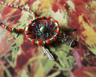 Dream catcher necklace, rhapsody in green and red