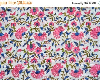 ON SALE Floral watercolor fabric Block print Handstamped fabric dress material by the yard