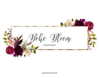 Floral Logo-Rustic Flower Logo-Boho Floral Logo-Floral Label Logo-Etsy logo-Watercolor Logo-Business Logo-Premade logo-Free Font Change