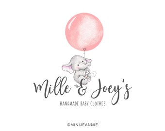 Elephant Logo-Baby Animal Logo-Balloon Logo-Animal Logo-Etsy logo-Watercolor Logo-Business Logo-Premade logo-Free Font Change