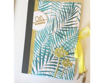 Notebook, personnal diary, bullet journal A5, tropical jungle, summer style, palm prints