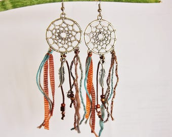"""Cheyenne Dreamcatcher"" earrings copper Brown"