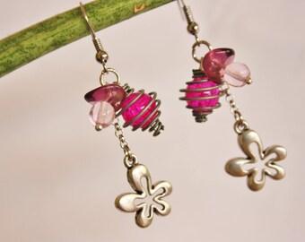 """""""A summer flower"""" earrings pink & purple"""