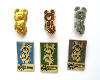 Misha, Bear, Badge, Sign of Olympic Games, Moscow 1980, Olympic, Sport, Vintage metal collectible badge, Soviet Pin, Made in USSR, 80s