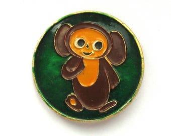 Cheburashka, Badge, Character from soviet cartoon, Vintage collectible badge, Soviet Vintage Pin, Made in USSR