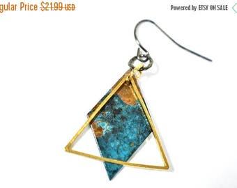 XMASINJULY Patina copper earrings, geometric earrings, artisan earrings, verdigris patina, rustic earrings, triangle earrings, mixed metal e