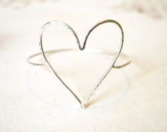 Open Heart Bangle, Sterling Heart Bracelet, Heart Bangle Bracelet, Valentine Jewelry