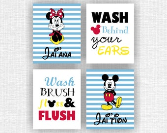 Minnie Mouse room decor Love Disney Wall Art Set of 3