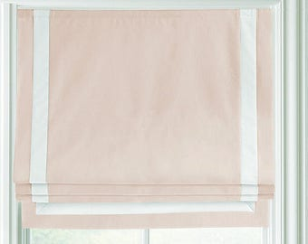 "Relaxed 100% Linen Roman Shade ""Tuscany Alt.Pink with White Border"", linen roman shade with chain mechanism, roman shades custom"