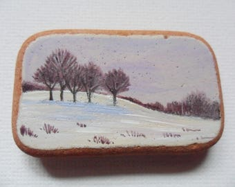 Winter trees, lilac sky - Acrylic miniature painting on Scottish sea pottery