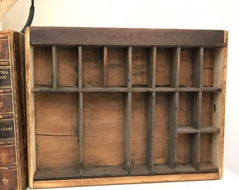 FREE SHIPPING - Small Vintage Printers Tray, Tyoesetters Tray