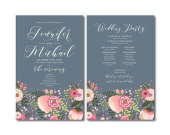 Floral Wedding Program, Printable Programs, Order of Service Program, Wedding Party Program, Ceremony Order of Service, Programs #CL126