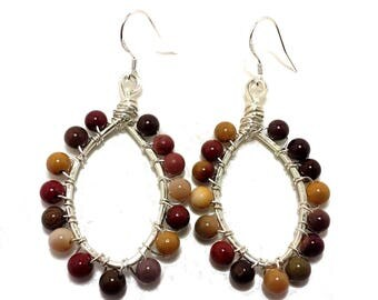 Moonakaite Earrings, Sterling Silver Earrings, Gemstone Earrings, Hoop Earrings, Beaded Earrings, Gemstone Jewelry