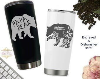 Mama bear mug Papa bear mug set mom cups dad cups mom and dad gifts christmas gifts for parents mother's father's day stainless steel coffee