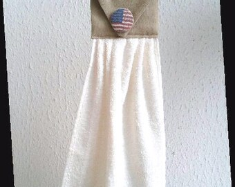 fashion beige button US American flag hand towel