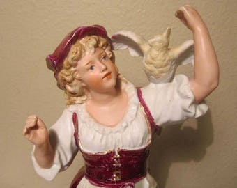 """Antique German Gebr Heubach Bisque Figurine Young Girl With Bird on Shoulder Signed 12 1/4"""" High"""