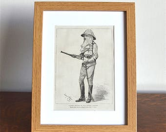 Oak framed original antique Victorian engraving A staff officer in full Soudan uniform circa.1884