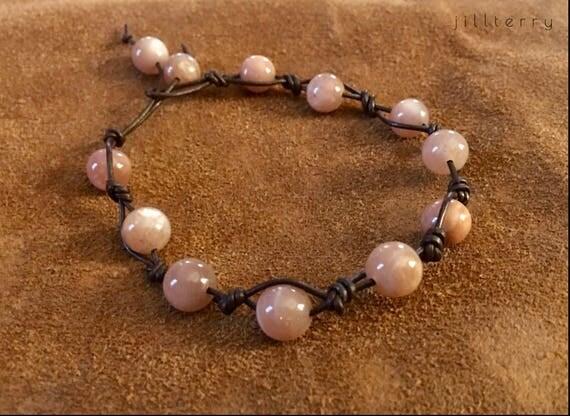 Peach Moonstone Beaded Bracelet