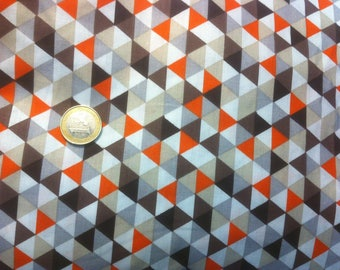 Orange triangle pattern cotton fabric sold by 10cm