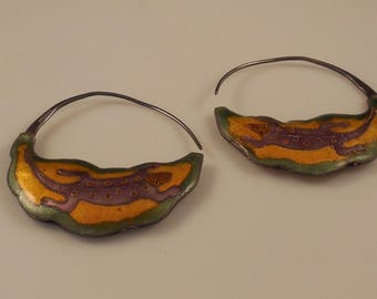 Vintage Cloisonné Enamel Puffy Figural Sterling Silver 24k Gold Wash Pierced Hoop Earrings