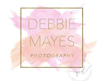 Premade watercolor splash blushing pink logo with gold border, perfect for photography business, logo for boutique, branding kit watercolor