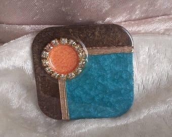 cabochon square multicolor turquoise orange wood and rhinestone