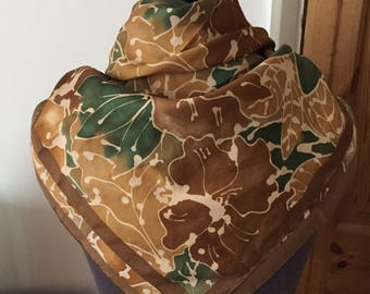 Vintage Brown and Green Square Scarf