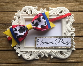Cowgirl Hair Bow Headband - Baby Vacation Bow - Boutique Headband - Cowgirl headband - Baby cowgirl headband