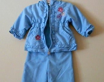 80s Snow Suit, Light Blue, Two Piece, Cradle Togs, Blue, Pink, Embroidered, Snow Pants, Jacket, Baby Girl, Size 12 M, 1 Year, Baby Vintage