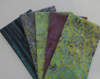 Batik Fabric Bundle - 5 Half Yard Cuts - Lime Green Purple Blue - 100% Cotton