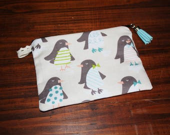 Clutch purse quilted zipped cotton colorful penguins!