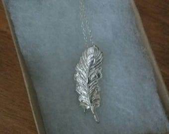 Fine silver feather necklace on a sterling silver chain