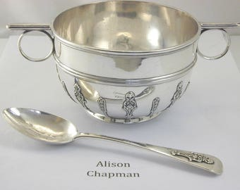 Victorian sterling silver porridge bowl and spoon 1897 258.9 grams
