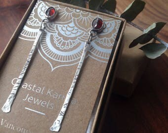 Faceted Garnet Gemstones, Silver Drop Earrings || Minimalist, Industrial Bohemian Jewelry, Vancouver Jewelry, 925 Sterling Silver, Grounding