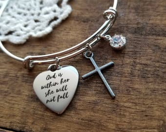 Religious gifts, confirmation gift, Christian jewelry, motivational jewelry, bible verse  jewelry, God is within her she will not fall