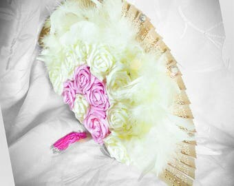 Center table fan, roses, feathers and diamonds to be personalized