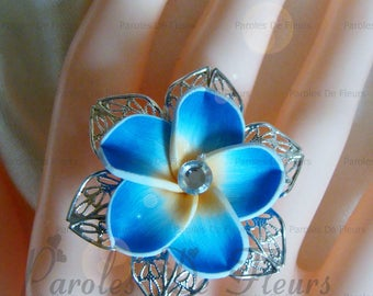 plumeria flowers ring turquoise color choice