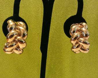 Gold tone designer St John braided puff half hoops clip on Earrings