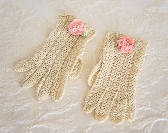 Vintage Beige Crochet Lace Gloves Embellished with Handmade Flowers