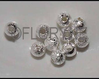 10 beautiful sparkly round beads 4Mm silver metal