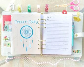 Dream Diary Half Letter Planner Half Size Inserts Filofax Printable Tasks Printable Refills Digital Instant Download