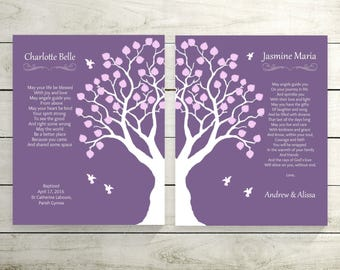 Twins Gift | Twins Baby Blessing Prints | Gift From Godparents | Twins keepsake Gift | Twins Baby Girls Baptism Gift - 27077P