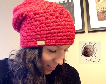 Ladies Handmade Slouchy Crochet Hat. Made from a very soft wool blend.