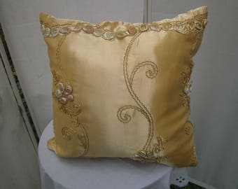 yellow Pillow with Roses - Satinpillow - homedecor, Shabby Pillow - handmade Pillow - Giftidea