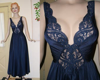 Olga 92270 Navy Nightgown | Vintage Lace Night Gown | Designer Lingerie | Long Flowing Nighty 1980s | Size Medium