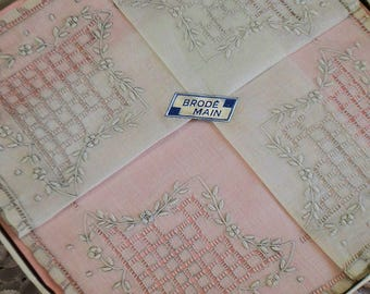 Vintage french handkerchief, hand made soft embroideries, 1950s, in box