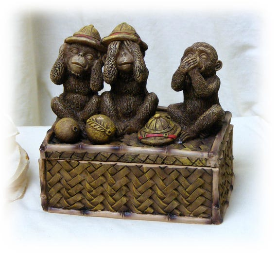 Three Monkeys Trinket Box. Hear No Evil, See No Evil & Speak No Evil